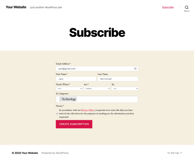 content notify subscription form
