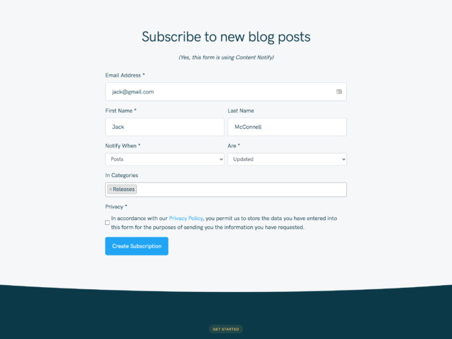content notify subscription form styled